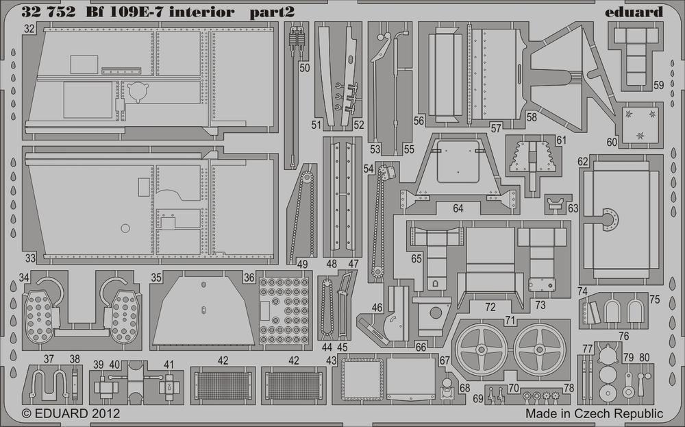 Eduard Bf 109E-7 interior (Trumpeter)
