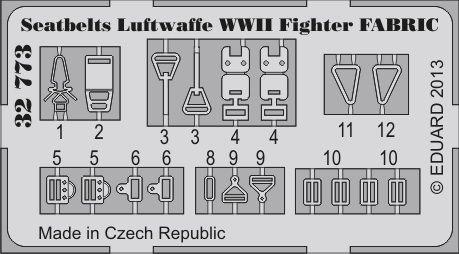 Eduard Seatbelts Luftwaffe WWII Fighter FABRIC