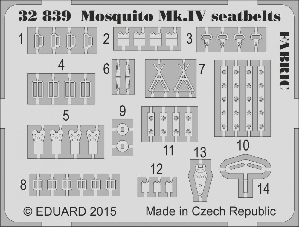 Eduard Mosquito Mk.IV seatbelts FABRIC (Hong Kong Models)