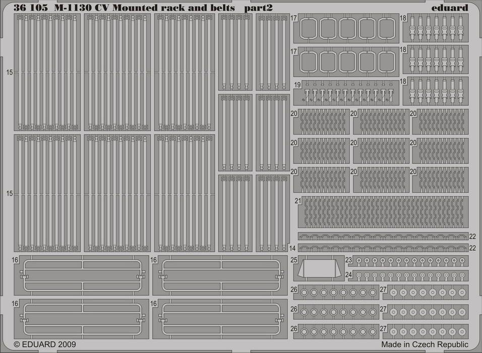 Eduard M-1130 CV Mounted rack and belts (Trumpeter)