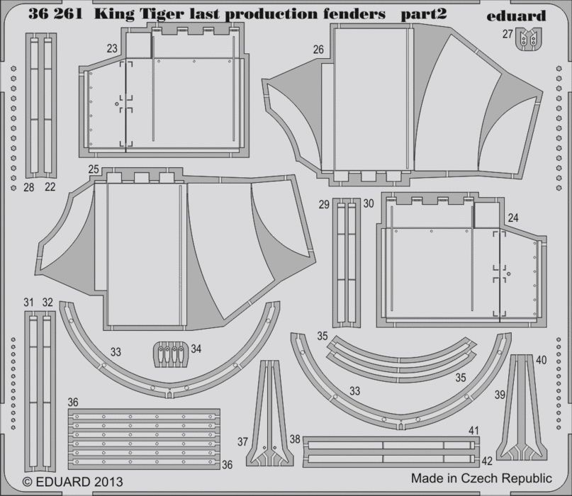 Eduard King Tiger last production fenders (Academy)