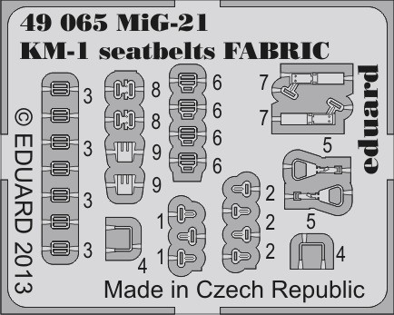 Eduard MiG-21 KM-1 seatbelts FABRIC
