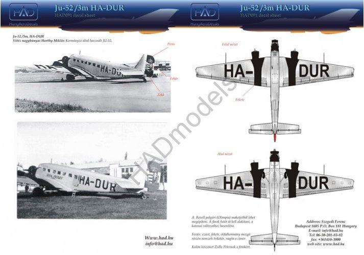 HAD Ju-52 matrica (HA-DUR Horthy Miklós gépe)