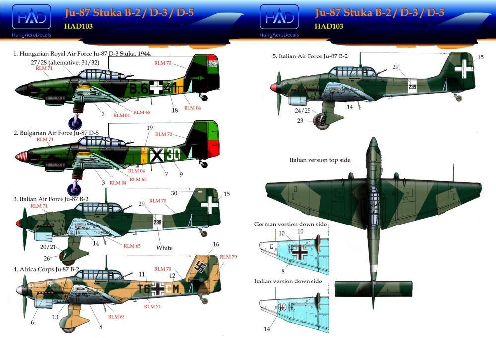 HAD Ju-87 Stuka B-2, D-3, D-5