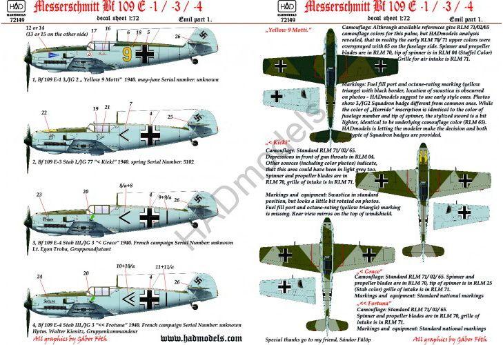 HAD Me Bf 109 E1/3/4 (Kieki, Grace, Fortuna, Motti)