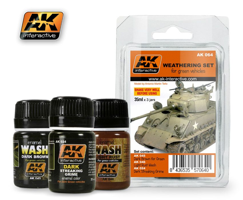 AK Weathering Green Vehicles Set