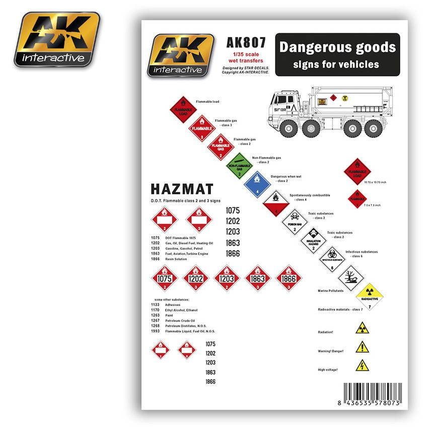 AK DANGEROUS GOODS SIGNS FOR VEHICLES