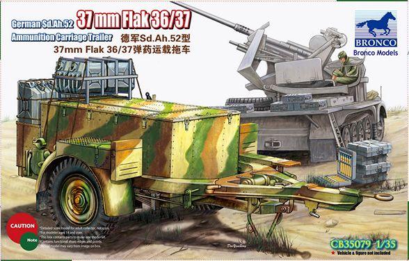 Bronco German Sd.Ah.52 37mm Flak Ammunition Carriage Trailer
