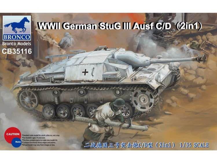 Bronco German StuG III Ausf C/D with 75mm StuK 37/L24&75mm StuK40/L48(2in1)
