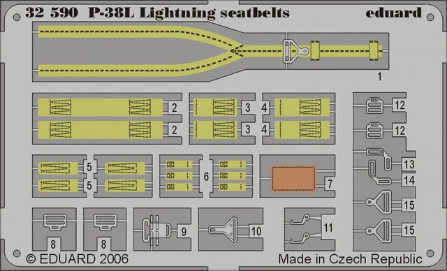 Eduard P-38L seatbelts (Trumpeter)