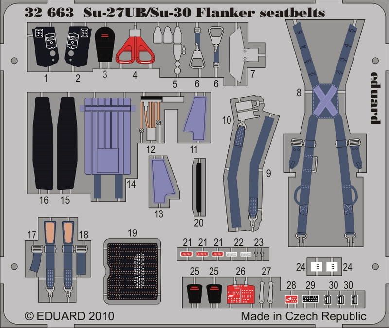 Eduard Su-27UB/Su-30 Flanker seatbelts (Trumpeter)