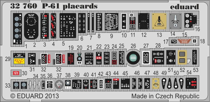 Eduard P-61 placards (Hobby Boss)