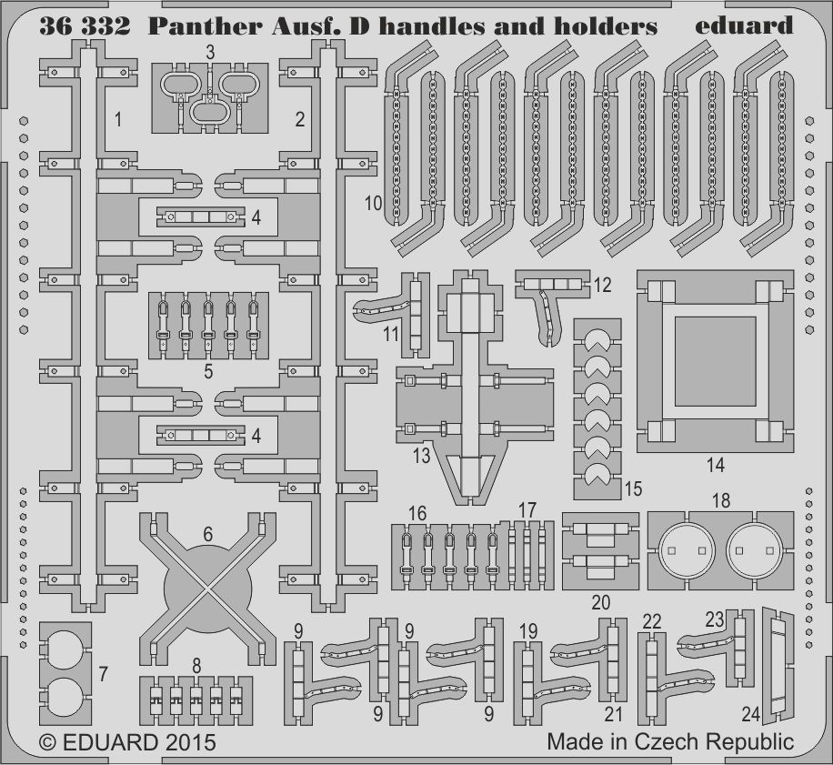 Eduard Panther Ausf. D handles and holders (Tamiya)