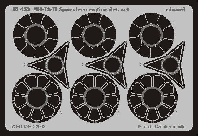 Eduard SM 79II Sparviero engine (Trumpeter)