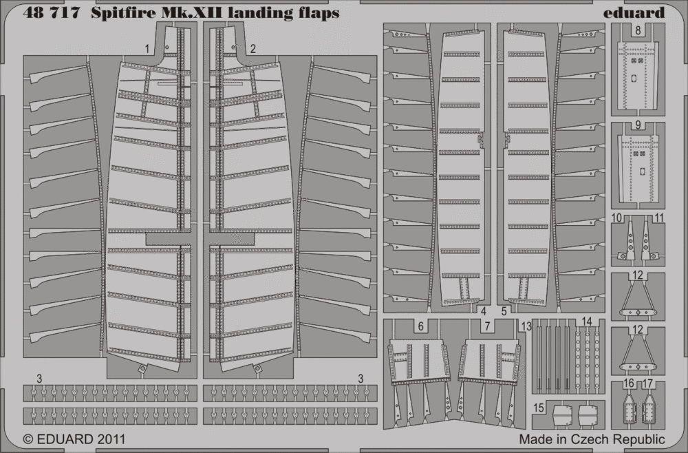 Eduard Spitfire Mk.XII landing flaps (Airfix)