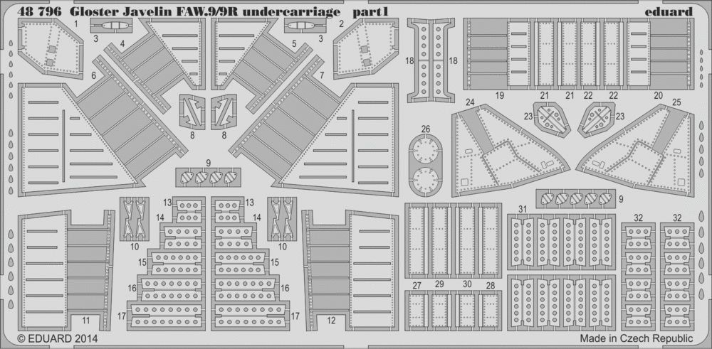 Eduard Gloster Javelin FAW.9/9R undercarriage (Airfix)