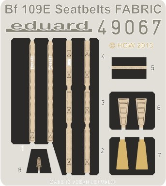 Eduard Bf 109E seatbelts FABRIC