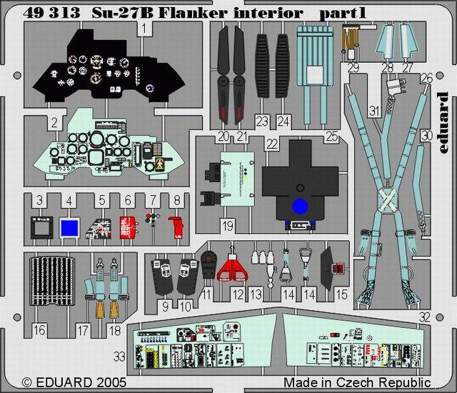 Eduard Su-27 Flanker B interior (Academy)
