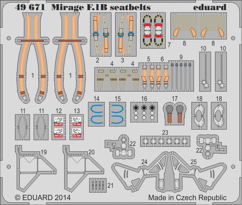 Eduard Mirage F.1B seatbelts (Kitty Hawk)