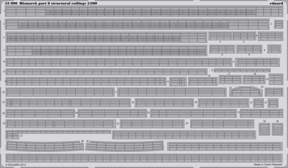 Eduard Bismarck part 8 - structural railings (Trumpeter)