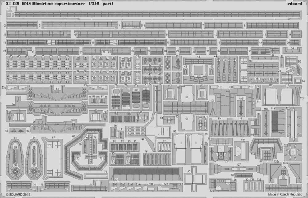 Eduard HMS Illustrious superstructure (Airfix)