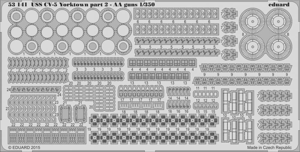 Eduard USS CV-5 Yorktown part 2 AA guns (Merit)