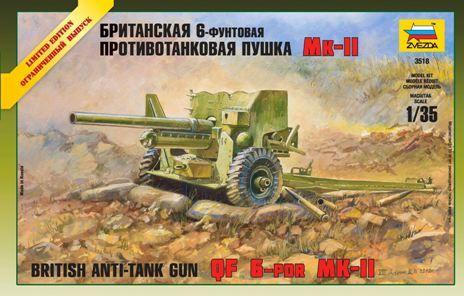 Zvezda British 6 lb MK-1 gun makett