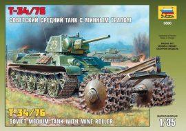 Zvezda T-34/76 Soviet Tank with Mine Roller