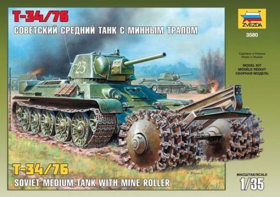Zvezda T-34/76 Soviet Tank with Mine Roller makett