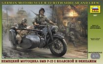 Zvezda German WWII Sidecar R12 with crew makett
