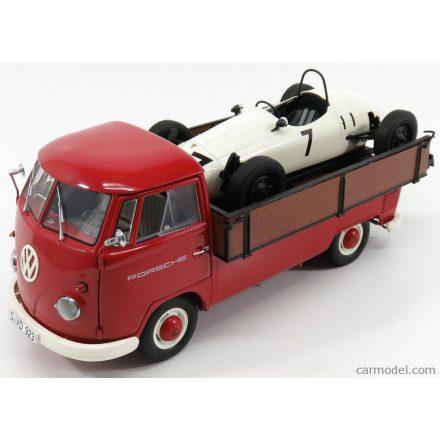 Schuco VOLKSWAGEN T1B WESTFALIA RENNWAGEN CAR TRANSPORTER 1962 + F1 PORSCHE N 7
