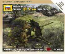 Zvezda British QF 2pdr Anti-Tank Gun with Crew makett