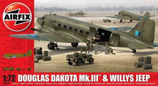 Airfix Douglas Dakota MkIII with Willys Jeep makett