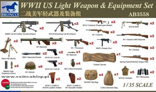 Bronco WWII US Light Weapon & Equipment Set