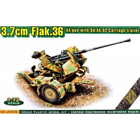 Ace Model Flak.36 3.7cm AA gun with Sd.Ah.52 carriage trailer makett