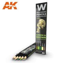 AK akvarell ceruza - GREEN & BROWN SHADING & EFFECTS SET