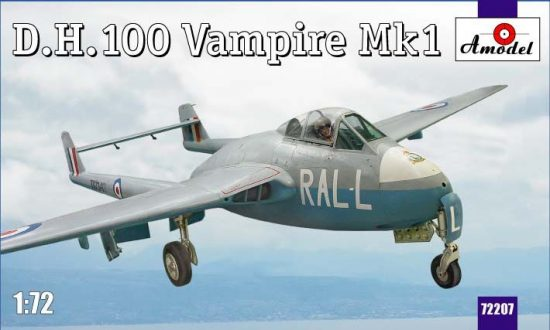 Amodel D.H.100 Vampire Mk1 RAF jet fighter makett