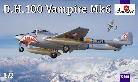 Amodel D.H.100 Vampire Mk6 RAF jet fighter makett