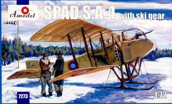 Amodel SPAD S.A.4 with ski gear makett