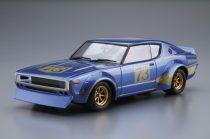 Aoshima Nissan KPGC110 Slyline 200 GT-R #73 Racing Version makett