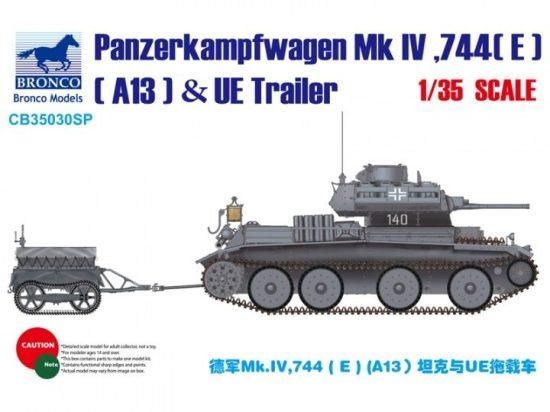 Bronco Pz.Kpfw.Mk.IV ,744(E) (A13 Cruiser) & UE Trailer makett