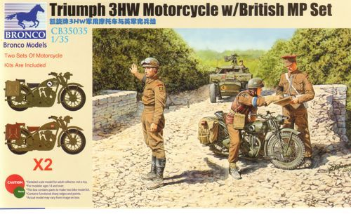 Bronco Triumph 3HW Motorcycle with MP Figure Se makett