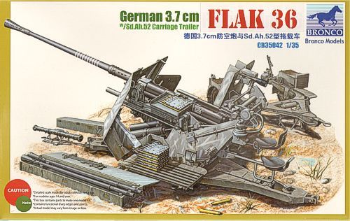 Bronco German 3.7cm Flak 36 makett