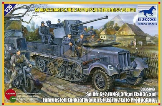 Bronco Sd.Kfz.6/2 5t 3.7cm Flak36 half-track (BN9) Early/Late makett