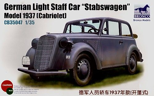 Bronco 1937 Opel Light Staff 'Stabswagen' Cabriole makett