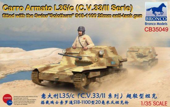 """Bronco Carro Armato L35/c (C.V.33/II Serie) Fitte with the Swiss """"Solothurn"""" S18-1100 makett"""