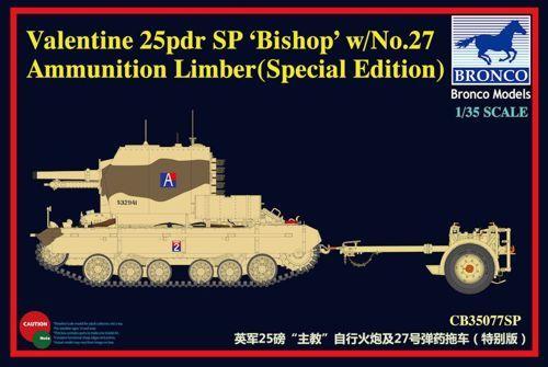 Bronco Valentine 25lb SP 'Bishop' with No.27 Ammunition Limber makett