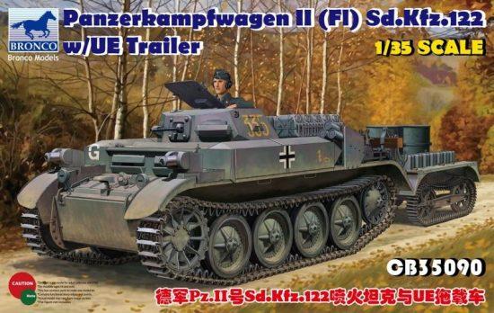 Bronco Pz.Kpfw.II (Fl) Sd.Kfz.122 with UE Trailer makett