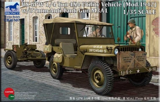 Bronco US GPW 4x4 Light Utility Truck with 37mm Anti-Tank Gun M3A1