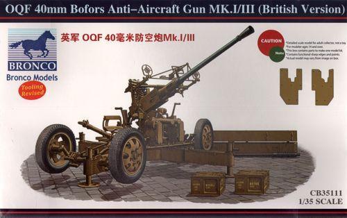 Bronco OQF 40mm Bofors Anti-Aircraft Gun Mk.I/III makett